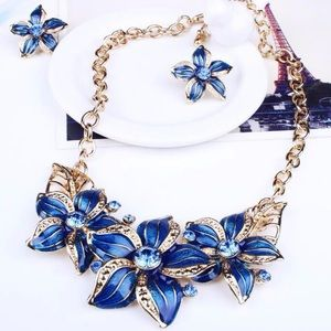 Jewelry - 💙 Crystal Enamel Flower Blue and Gold Jewelry Set